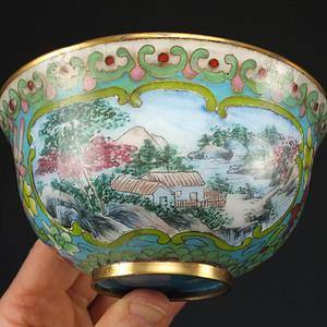 清代铜胎掐丝 画珐琅大碗