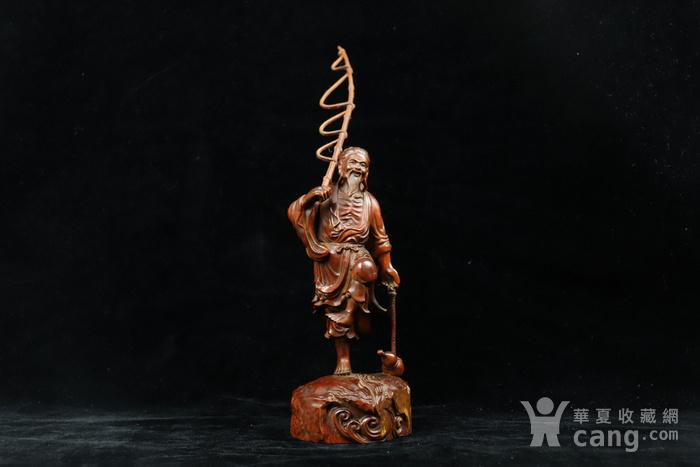 旧藏小叶黄杨渔翁得利人物摆件图1