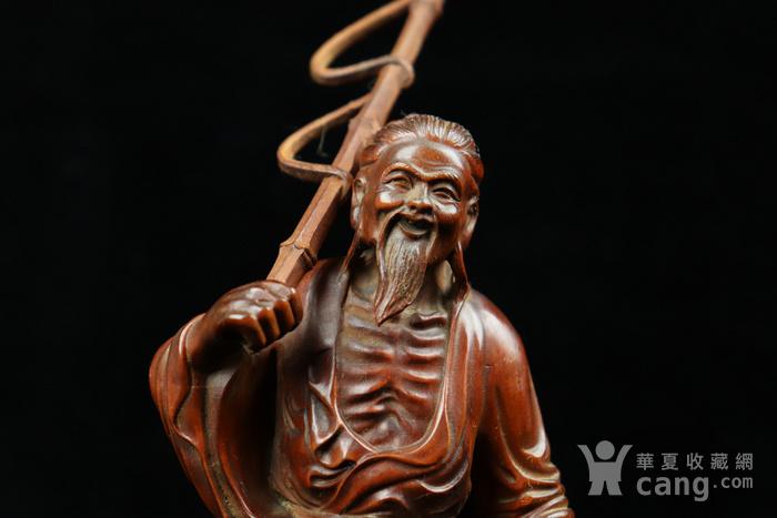 旧藏小叶黄杨渔翁得利人物摆件图6