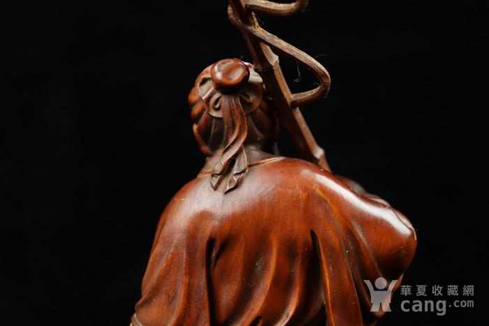 旧藏小叶黄杨渔翁得利人物摆件图9
