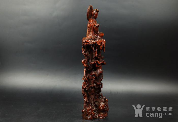 旧藏黄杨木雕观音珊子摆件图2