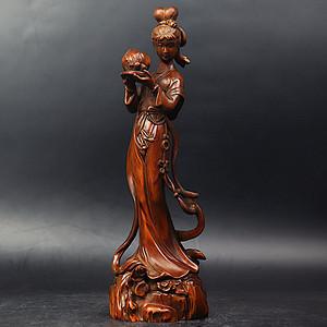 旧藏黄杨木雕麻姑献寿美女摆件。