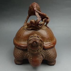 旧藏竹根雕鹤蹬龟香炉摆件