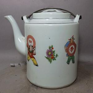 文革时期四季长春人物绘画提梁壶