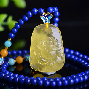 联盟 天然极品满蜜鸡油黄蜜蜡精工花开富贵雕件 含链