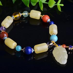 联盟 天然原矿蜜蜡桶珠单圈珠串,配多种宝石