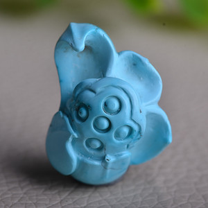 联盟 原矿*高瓷高蓝*古料绿松石精工莲花雕件