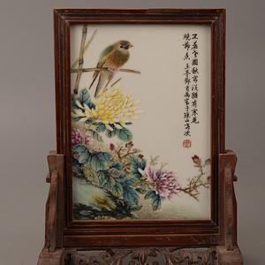 欧洲回流粉彩花鸟瓷板
