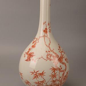 欧洲回流矾红花卉胆瓶