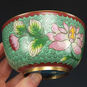 清代 铜胎掐丝珐琅镶嵌 花碗