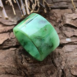 天然A货翡翠糯种艳浓绿翡翠玉戒指送证书 P28