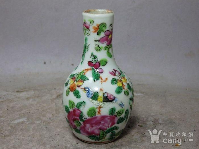 清代粉彩花鸟绘画小天球瓶图1