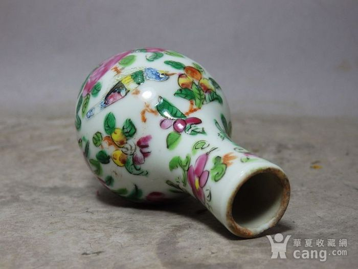清代粉彩花鸟绘画小天球瓶图5