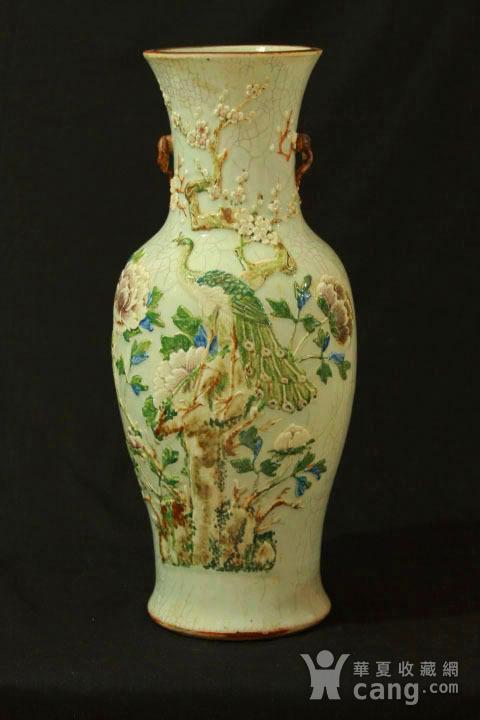 清中期哥釉堆塑富贵花鸟纹300件大瓶