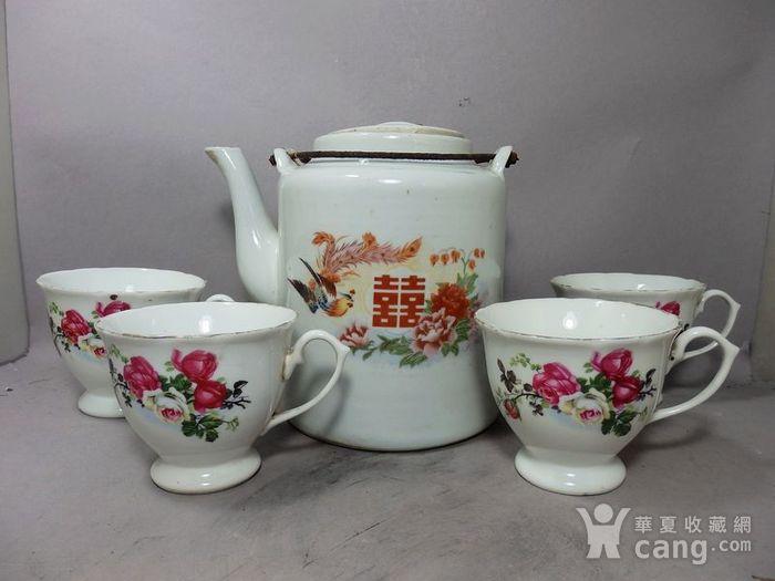 文革时期凤穿牡丹绘画茶具一套图1