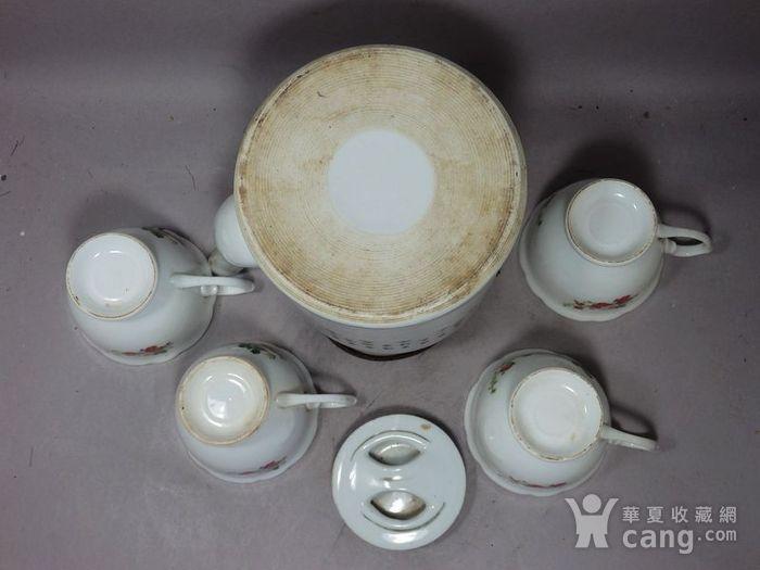文革时期凤穿牡丹绘画茶具一套图6