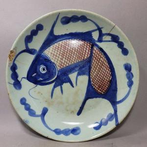清代青花釉里红鲤鱼盘