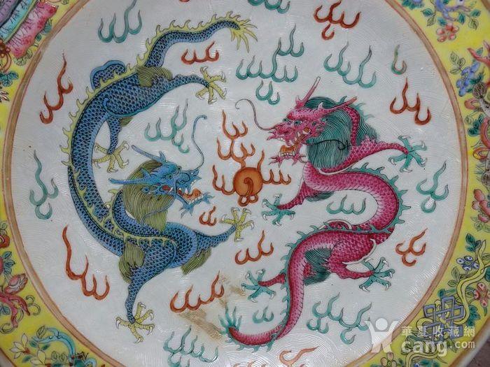 清代粉彩双龙戏珠内外暗刻海浪纹绘画 盘图2