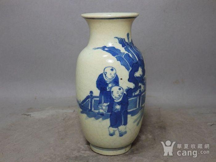 清代畏瓷青花三 教子人物绘画灯笼瓶图3