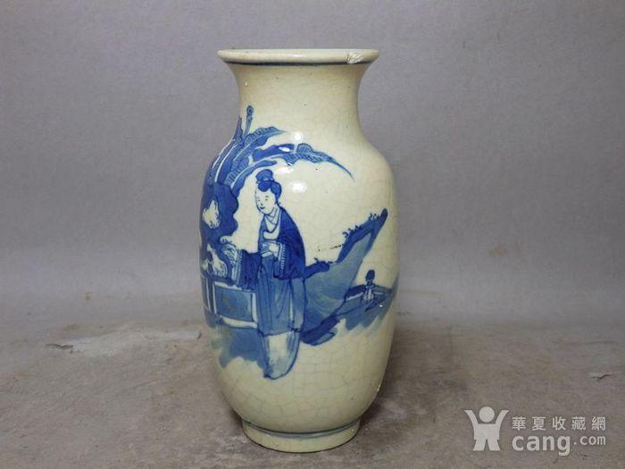 清代畏瓷青花三 教子人物绘画灯笼瓶图2