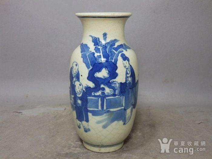 清代畏瓷青花三 教子人物绘画灯笼瓶图1