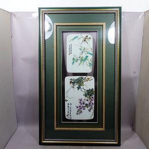 民国新粉彩花鸟绘画瓷板两片