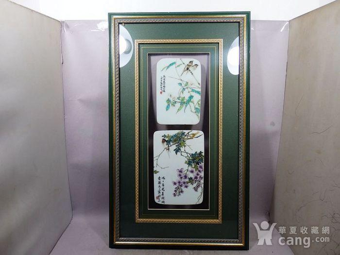 民国新粉彩花鸟绘画瓷板两片图1