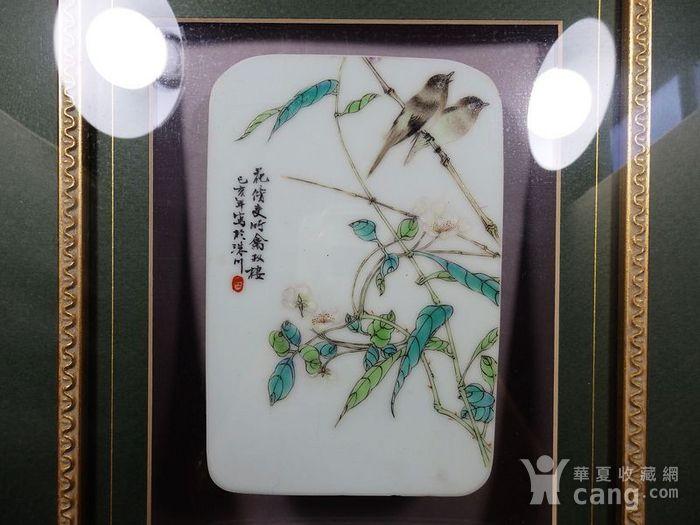 民国新粉彩花鸟绘画瓷板两片图2