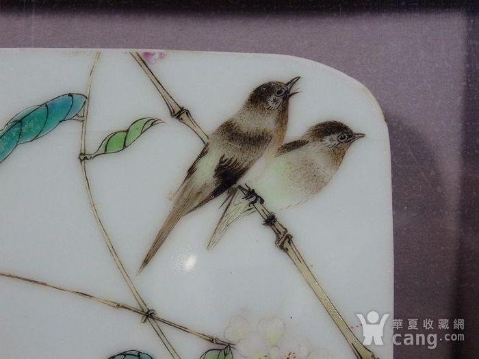 民国新粉彩花鸟绘画瓷板两片图4
