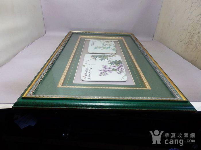 民国新粉彩花鸟绘画瓷板两片图9