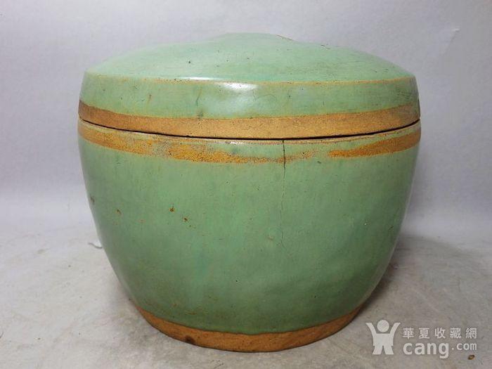 晚清绿釉鼓钉盖罐图1