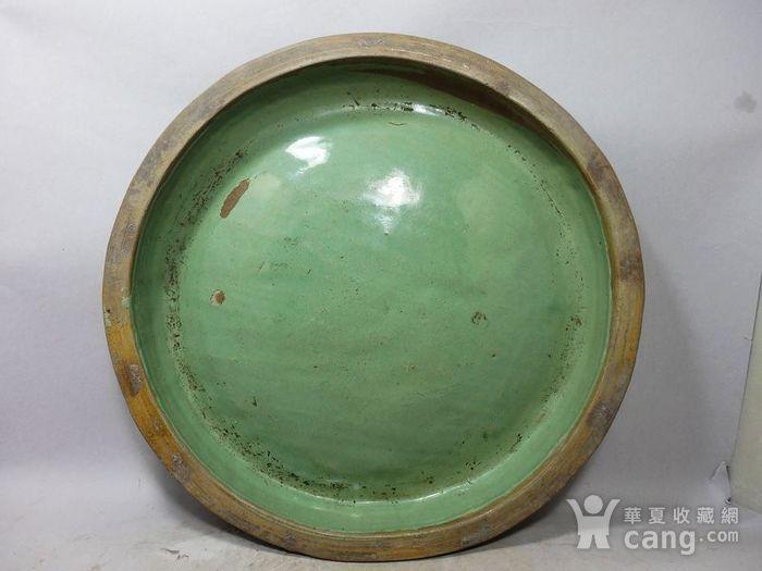 清代大号绿釉盘图1