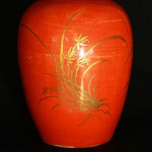 清代珊瑚红釉描金冬瓜罐
