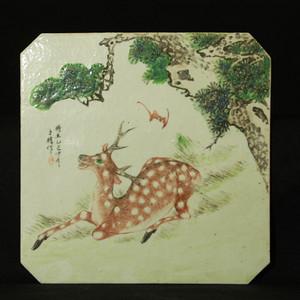 晚清名家粉彩福禄纹瓷板