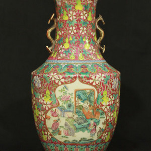 清乾隆年制款 粉彩如意耳卷口赏瓶 44公分高