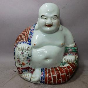 清代粉彩红袈裟弥勒佛塑像