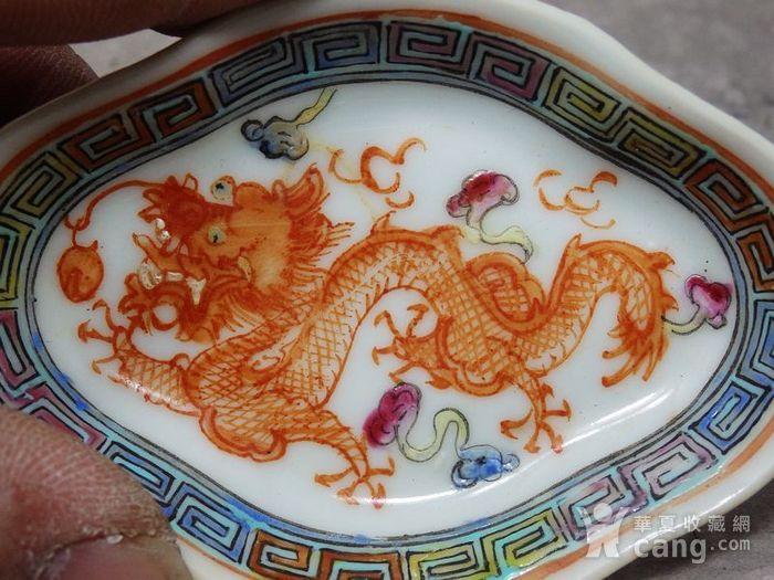 清代粉彩苍龙戏珠绘画菱形笔洗图2
