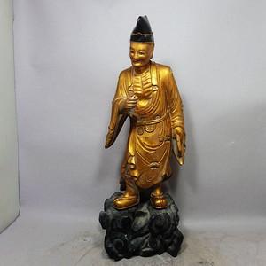 清代木鎏金济公雕像