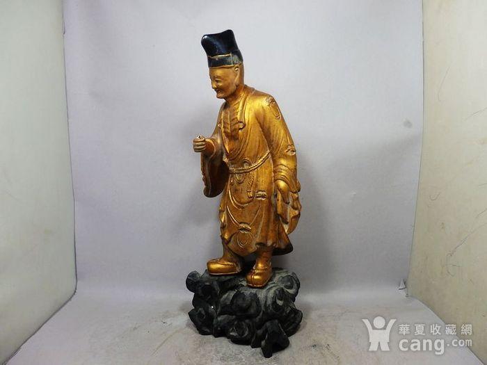 清代木鎏金济公雕像图2