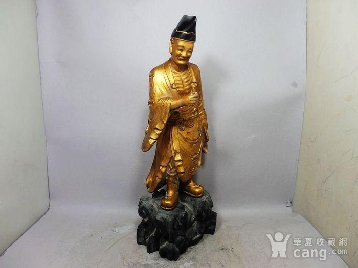 清代木鎏金济公雕像图3