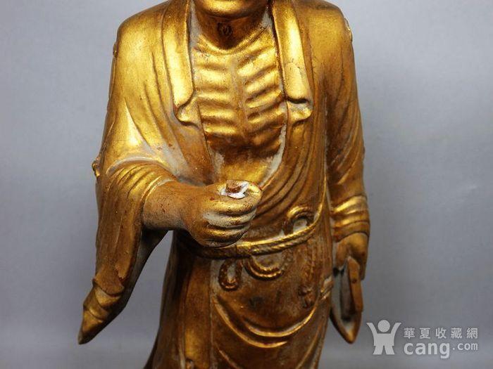 清代木鎏金济公雕像图6
