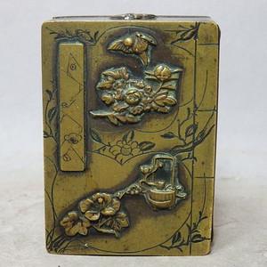 清代铜雕清供花鸟印盒