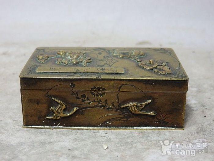 清代铜雕清供花鸟印盒图2