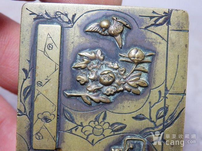 清代铜雕清供花鸟印盒图5