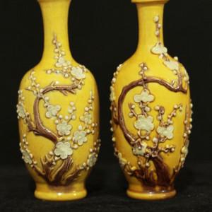 民国黄釉雕瓷瓶一对