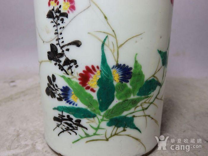 民国粉彩花卉绘画笔筒图5