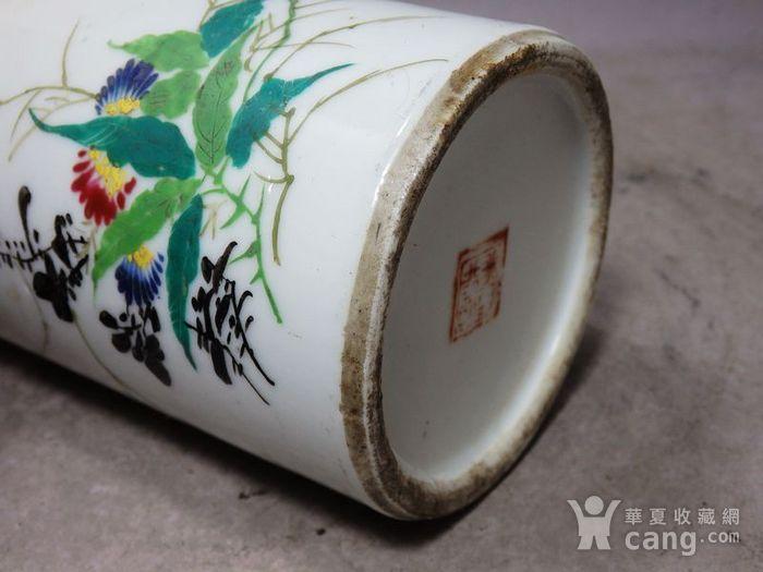 民国粉彩花卉绘画笔筒图9