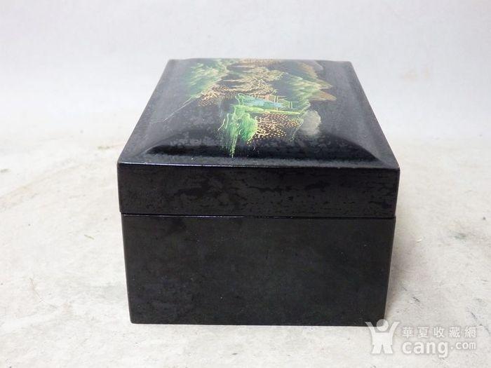 民国漆器山水绘画四方盖盒图2