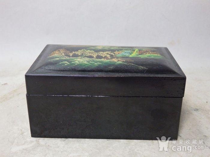 民国漆器山水绘画四方盖盒图1