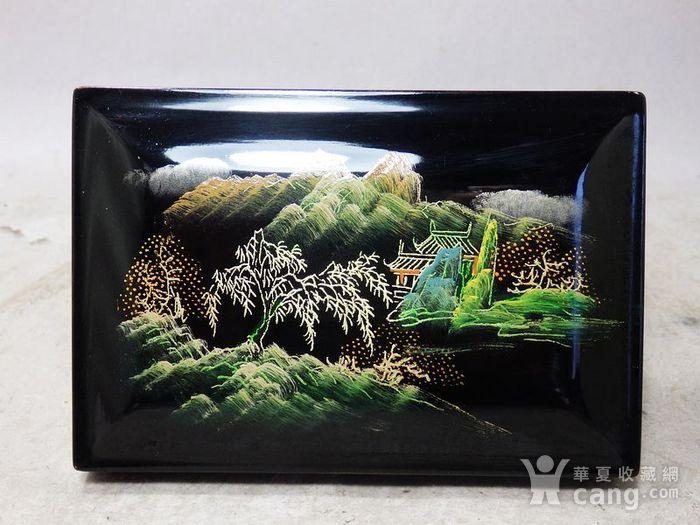 民国漆器山水绘画四方盖盒图3